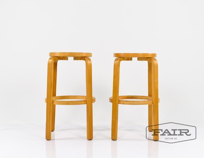 Pair of Alvar Aalto Bentwood Barstools