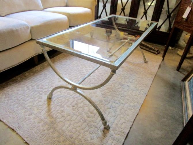 COFFEE TABLE IN BRUSHED SILVER IRON WITH GLASS TOP