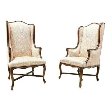 Vintage French Walnut Wingback Chairs - a Pair.