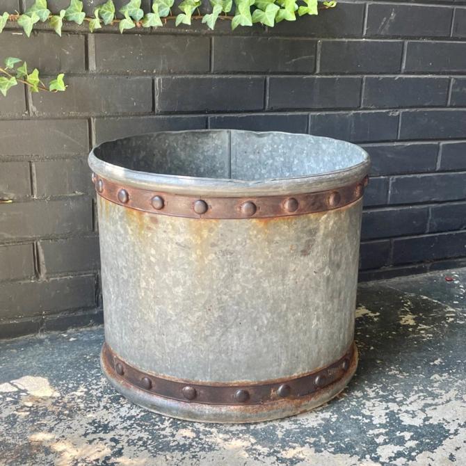 Vintage Galvanized Faux Riveted Bucket Planter Mid-Century Victorian Revival Vessel by BrainWashington