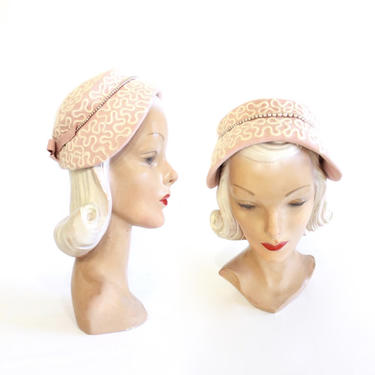 1950s Pink Bonnet Hat with Ivory Angora Detail - 1950s Pink Hat - Vintage Pink Hat - 1950s Bonnet Hat - 1950s Womens Hat - Pale Pink Hat by VeraciousVintageCo