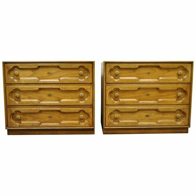 Pair Drexel Heritage Hollywood Regency Bachelor Chests Bedside Commode Dresser