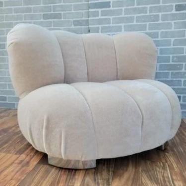 Mid Century Modern A. Rudin Channel Back Lounge Chair Newly Upholstered in a High End Plush Cream Italian Mohair