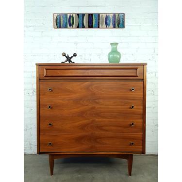 Outstanding Gorgeous Walnut Brass MCM  Bedroom Set