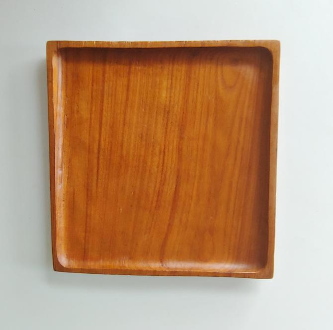 Vintage Square Teak Plate Serving Tray by ModandOzzie