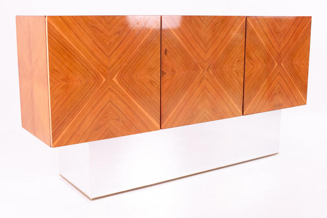 Milo Baughman for Thayer Coggin Mid Century Rosewood Floating Credenza with Chrome Plinth Base by ModernHill
