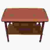 Rare Danish Teak Sewing / Serving Bar Cart With Dual Opening Drawer