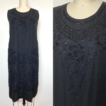 Antique 1920s Beaded Dress 20s Black Evening Flapper Formal Holiday by littlestarsvintage