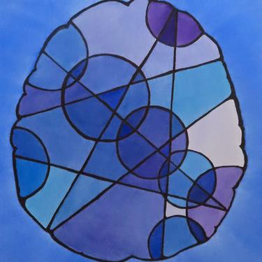 Big Stained Glass Brain  -  original watercolor painting - neuroscience by artologica