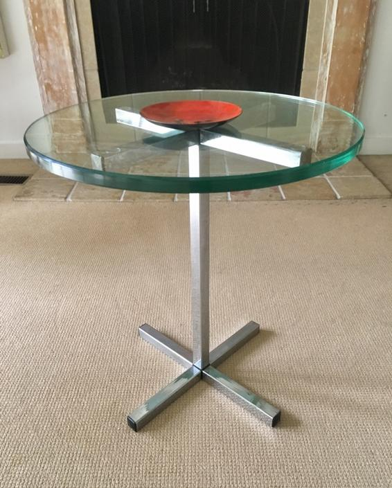 Vintage Mid Century Chrome & Glass Side Table