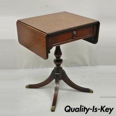 Antique Duncan Phyfe Pedestal Base Mahogany Dropleaf Pembroke Lamp Side Table