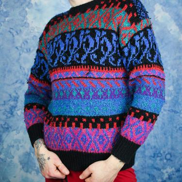 7609185703cf4f 90s Colorful Knit Sweater Geometric Pattern, Vintage Ugly Sweater Vibrant  Blue Purple Crazy Design,