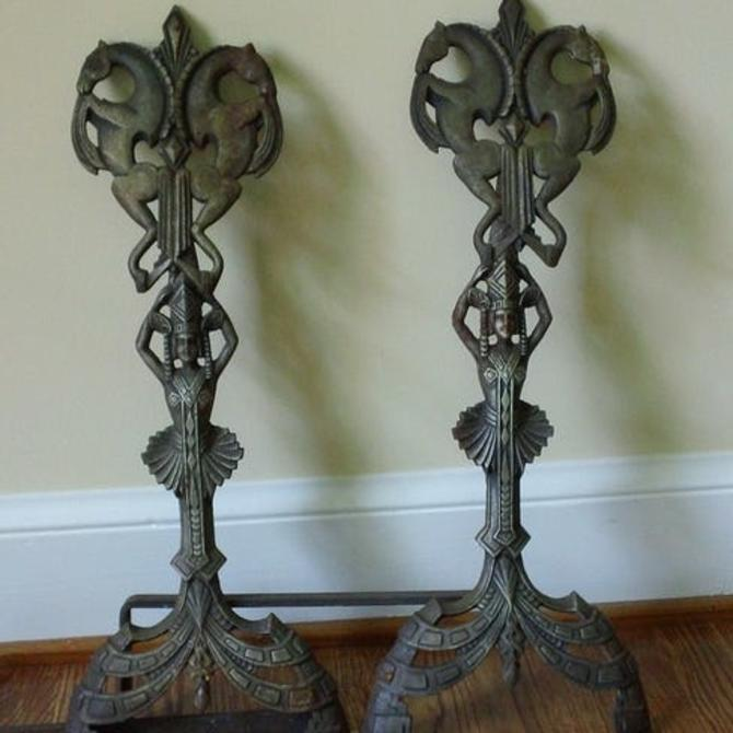 Pair of American Art Deco Andirons, circa 1920-30