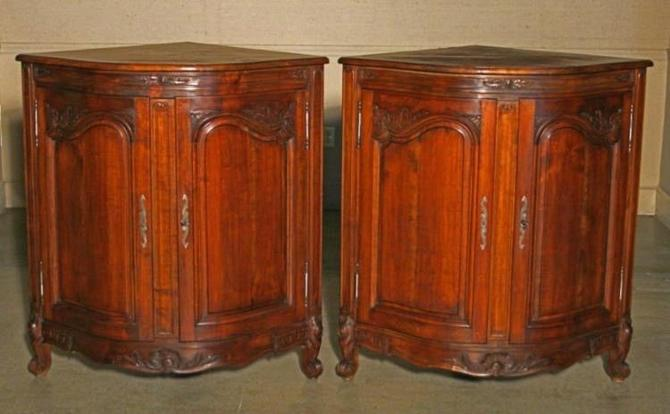 Pair Louis XV Style Walnut Low Corner Bombe Cabinets