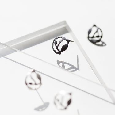 Cluster Seaweed Earrings in Oxidized Silver