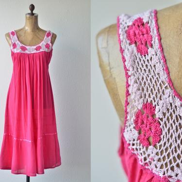60s Vintage HOT PINK Crochet Mexican Dress, Sheer Cotton Gauze Midi Sundress, Sleeveless Crochet Lace, Muslin Peasant Festival Gypsy 1970s S by MOBIUSMOD