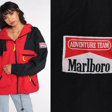 Marlboro Windbreaker Jacket 90s HOODIE Jacket Adventure Team Nylon Hooded Jacket Hood 1990s Red Black Vintage Large by ShopExile