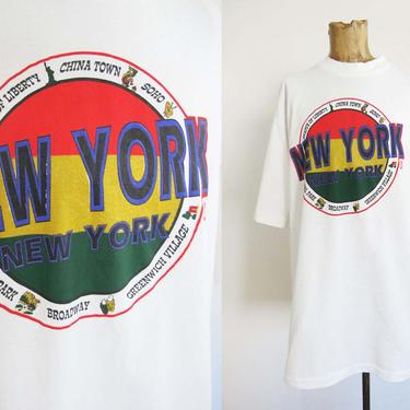 Vintage 90s New York City T Shirt Baggy Large - NYC Souvenir Shirt 1990s - Big Apple - NYC China Town - Oversized NYC Cotton Shirt by MILKTEETHS