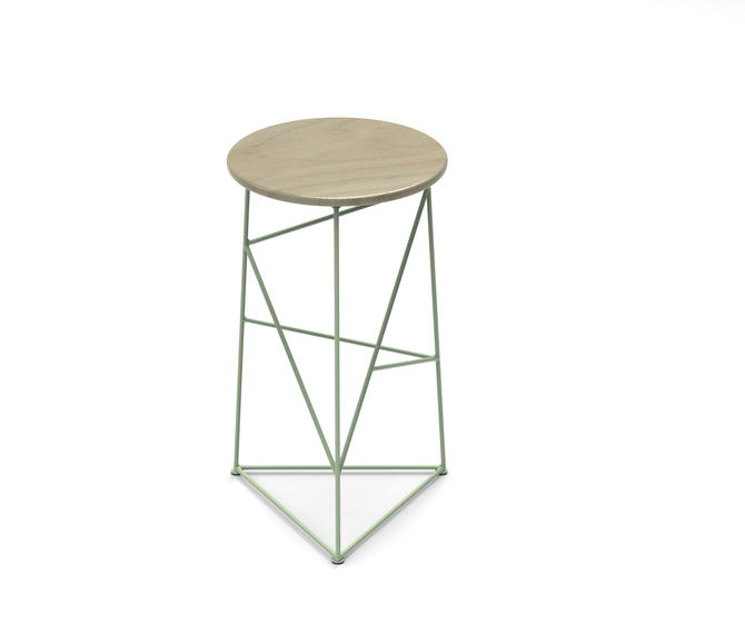 Stool,  Modern Steel Bar Stool in a Sage Green Finish with Solid Ash Seat by JumpFurniture