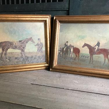 Rustic Wood Framed Horse Pictures, Equestrian, Cabin, Cottage, Farmhouse Decor by JansVintageStuff