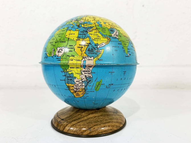 True Vintage Globe Bank Mid Century J. Chein Tin Lithograph Metal World Map Mantique Baby Kids Room Decor Nursery by CheckEngineVintage