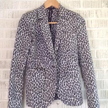 Rachel Zoe Size 0 White & Gray Print Jacket