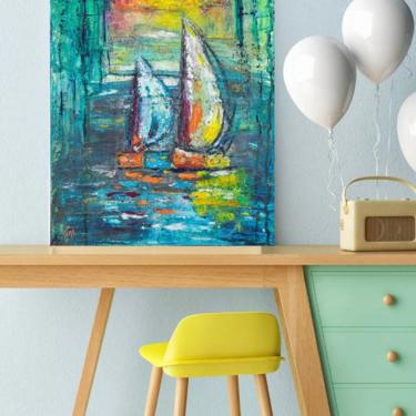 Sailboats Coastal Nautical Canvas Wall Art Print ~ Beach House Art Decor ~ Abstract Sailboat ~ Boathouse Prints ~ Giclée Sailboat Prints by DareToBeVintage