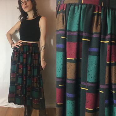 1980s Wool Blend Skirt | Artistic Plaid Dark Jewel Tone Earthy Gathered Professional Office Midi Skirt | Miss O by Oscar de la Renta by noisyeyevintage