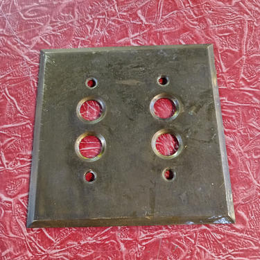 Double Brass push button switch plate 4 1/2