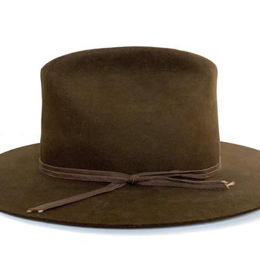 Vintage 1960s RESISTOL Western Fedora ~ size 7 1/8 ~ Cowboy Hat ~ Wide Brim ~ Brown ~ Beaver Fur Felt by SparrowsAndWolves