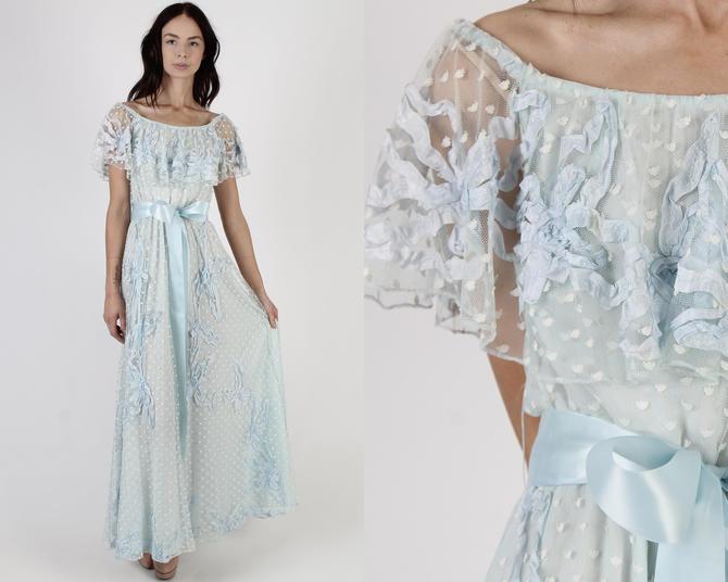 Lillie Rubin Lace Maxi Dress / Vintage 60s Light Blue Bridal Dress / White Swiss Polka Dot Prom Dress / Off The Shoulder Princess Dress by americanarchive