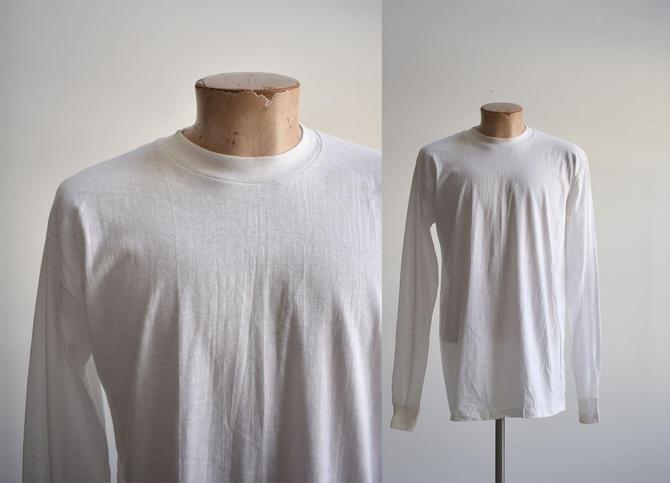 1980s Deadstock Blank White Longsleeve Tshirt by milkandice