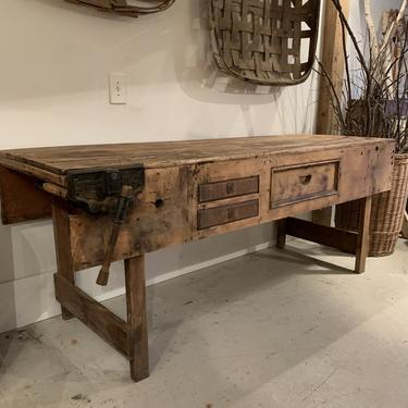 Vintage Workbench with Drawers and Vise
