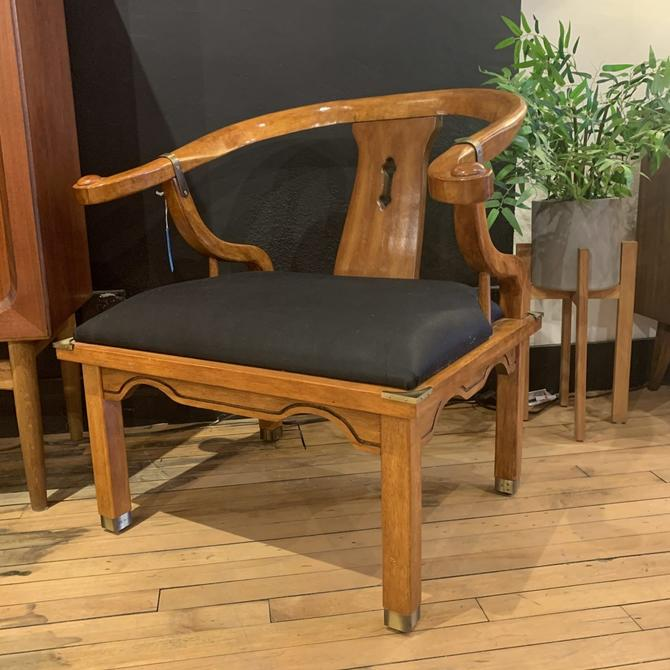 Pair of Asian Chairs w/ Black Upholstery