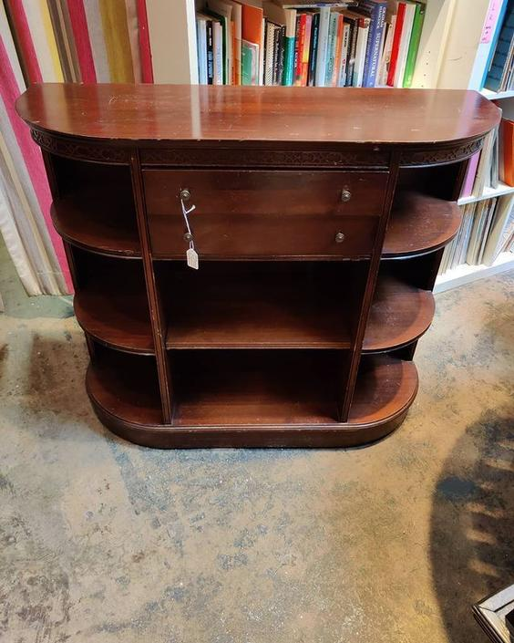 "Mahogany console shelf with drawers. 40"" x 14.5"" x 34"""
