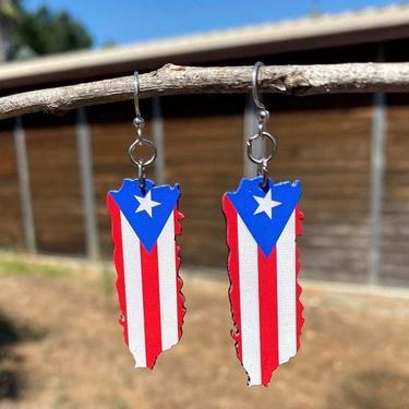 Puerto Rican Flag Earrings #S071- Laser Cut Wood - Super light weight Earrings by GreenTreeJewelry