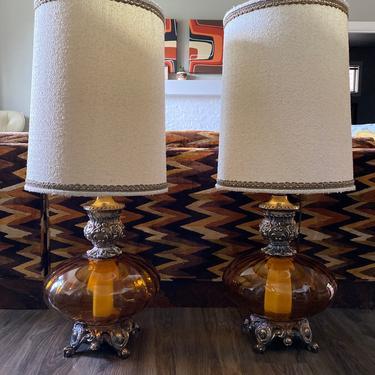 "Set of 2 Vintage Hollywood Regency Pair 3 1/2' Amber ""Optical"" Glass  Lamps by DesertCactusVintage"