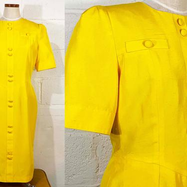 Vintage Yellow Dress Mod Sunshine Silk Shift Sheath Anne Crimmins For Umi Collections 100% Silk 1980s 80s Shirtdress Costume Medium Large by CheckEngineVintage