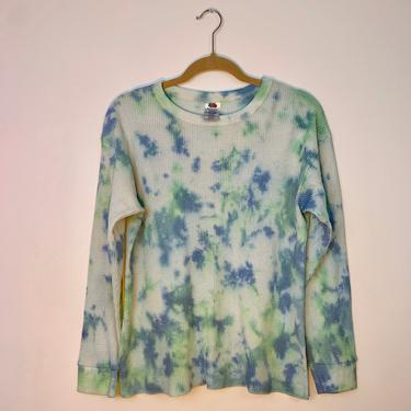Lime & blue tie dye vintage thermal by shopjournal