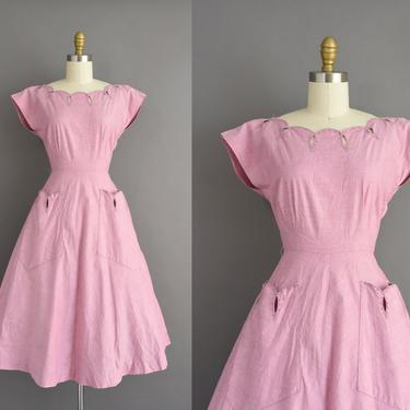 vintage 1950s dress | Beautiful Mauve Pink Cotton Scallop Full Skirt Day Dress | Small | 50s vintage dress by simplicityisbliss