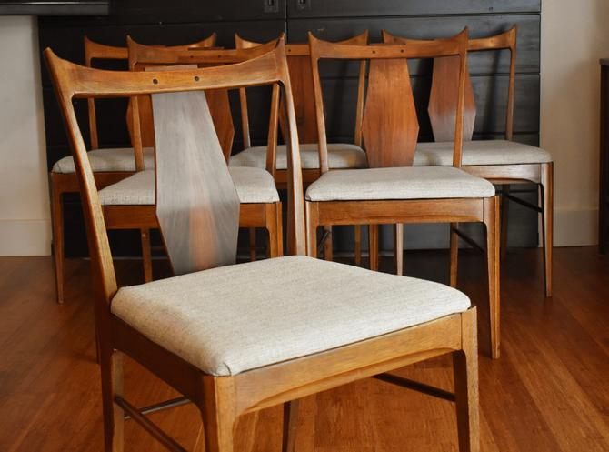 Six vintage BF Huntley walnut dining chairs w/new upholstery by MidCenturyClever