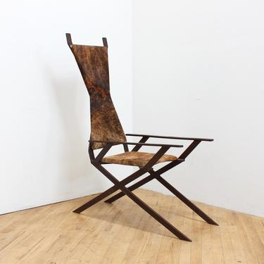Primitive Ponyskin Chair Vintage Art Sculptural Leather Welded Steel Goatskin African by 330Modern