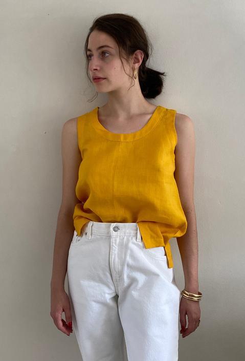 90s linen tank / vintage saffron yellow linen sleeveless pullover blouse top   M by RecapVintageStudio