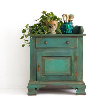 AVAILABLE Hand Painted Turquoise Small Vintage Cabinet, Green Solid Wood End Table, Teal Side Table, Artistic Storage for Arts and Crafts by GreenSpruceDesigns