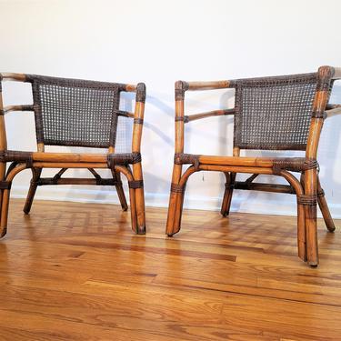 Mid Century Pair of Rattan Lounge Chairs by ProRefineFurnishings