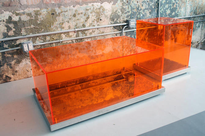 Acrylic Tables on wheels by Philippe Starck