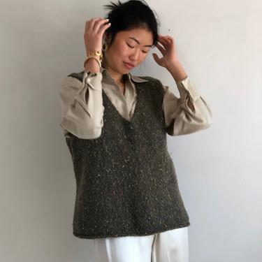 90s hand knit sweater vest / vintage olive handknit speckled mohair angora sleeveless V neck sweater vest | M L by RecapVintageStudio