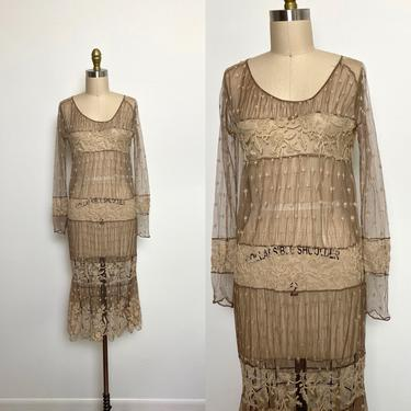 Antique 1920s Lace Dress 20s As Is Sheer by littlestarsvintage