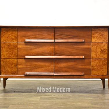 Walnut and Burl Long Dresser by mixedmodern1