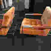 Original Pair Milo Baughman Thayer Coggin Lounge Chairs Midcentury Modern